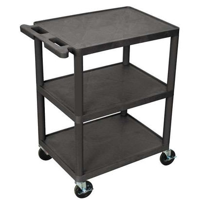 CART W 3 SHELVES FLAT BLK