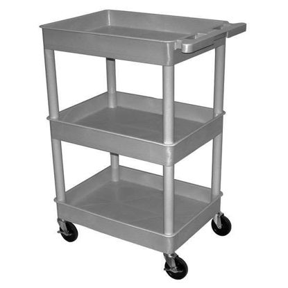 CART W 3 SHELVES TUB GRAY