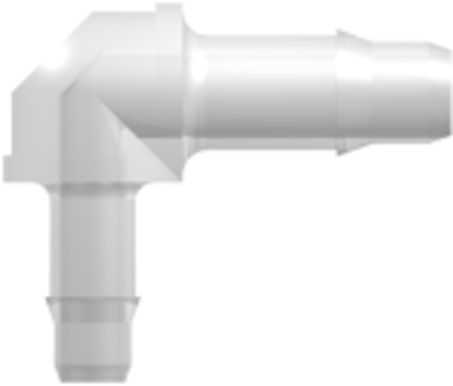 Elbow Reduction Tube Fitting with 400 Series Barbs 1/8in (3.2 mm) and 3/32in (2.4 mm) ID Tubing Animal-Free Natural Polypropylene