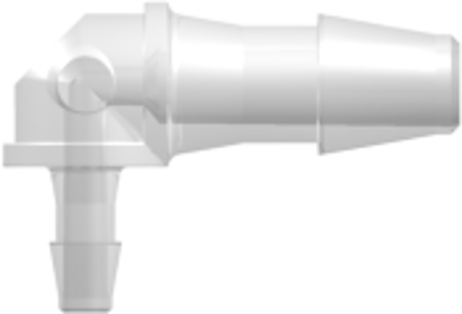 """Elbow Reduction Tube Fitting with 200 Series Barbs, 1/8"""" (3.2 mm) and 1/16"""" (1.6 mm) ID Tubing, Animal-Free Natural Polypropylene"""