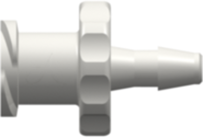 Female Luer Thread Style to 200 Series Barb 3/32in (2.4 mm) ID Tubing White Nylon 100pk