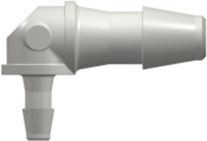 Elbow Reduction Tube Fitting with 200 Series Barbs 1/8in (3.2 mm) and 1/16in (1.6 mm) ID Tubing White Nylon
