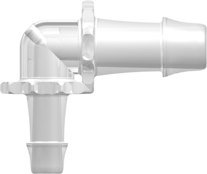 Elbow Reduction Tube Fitting with 500 Series Barbs 3/8in (9.5 mm) and 1/4in (6.4 mm) ID Tubing Animal-Free Natural Polypropylene