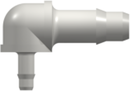 Elbow Reduction Tube Fitting with 400 Series Barbs 1/8in (3.2 mm) and 1/16in (1.6 mm) ID Tubing White Nylon