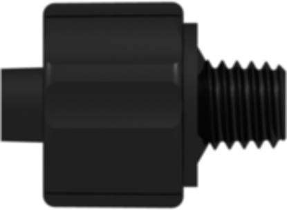 Male Luer Integral Lock Ring to 10-32 Special Tapered Thread Black Nylon