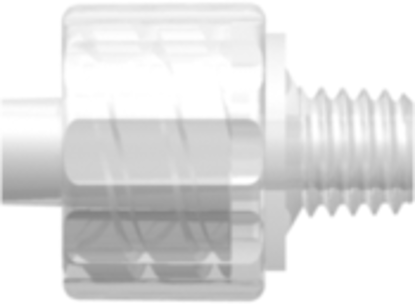 Male Luer Integral Lock Ring to 10-32 Special Tapered Thread Animal-Free Natural Polypropylene