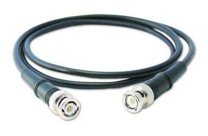 Low-cost, black coaxial cable (RG58/U), 10 ft (3.048 m), BNC plug to BNC plug.