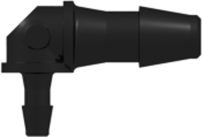 Elbow Reduction Tube Fitting with 200 Series Barbs 1/8in (3.2 mm) and 1/16in (1.6 mm) ID Tubing Black Nylon