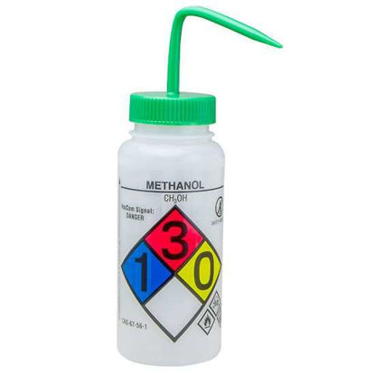 Bel-Art F12416-0011 GHS Labeled Safety-Vented Methanol Wash Bottles, LDPE, 500 mL; Green Cap, 4/Pk