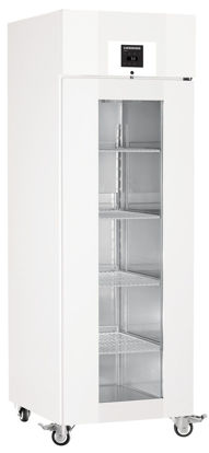 LKPv 6523 MediLine Laboratory Refrigerator with Profi Controller, Volume 601 L, Dynamic Cooling, Dimension 700 x 830 x 2150 mm, White Steel Cabinet Finish, Glass doors.