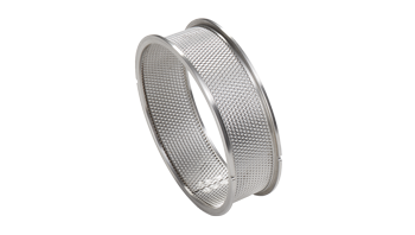 Sieve rings with reinforced edges made of stainless steel 1 mm trapezoidal perforation