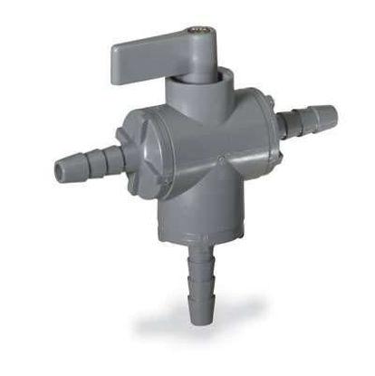"""Cole-Parmer Ball valve, 3-way, 3/8"""" barb - PVC w/EPDM seals"""