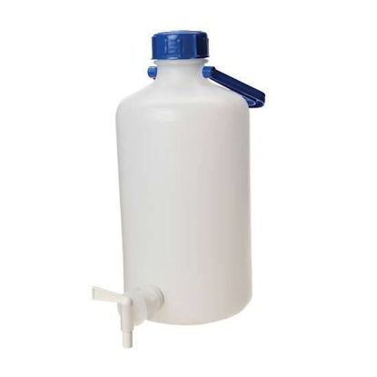 Cole-Parmer Heavy-Walled HDPE Carboy w/ Spigot, narrow mouth, 5 L
