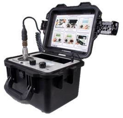 Portable Shaker Table.  Calibrates all types of vibration transducers with adjustable frequency range (5 Hz - 10 kHz) and amplitude settings.  LCD readout in English or metric units.