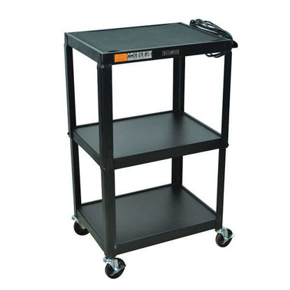CART W 3 SHELVES STEEL BLK