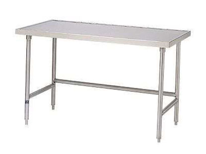 """Advance Tabco TVSS-306 Raised countertop-edged work table with an open base; 72""""L"""