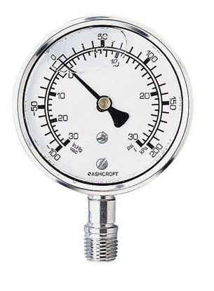 """Ashcroft 1008SL2.5 30"""" Hg to 30 psi and —100 to 200 kPa Dual-Scale Gauge, Bottom Connection"""