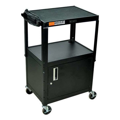CART W CABINET STEEL BLK