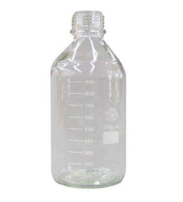Glass Bottle 1000ml, Coated, Clear