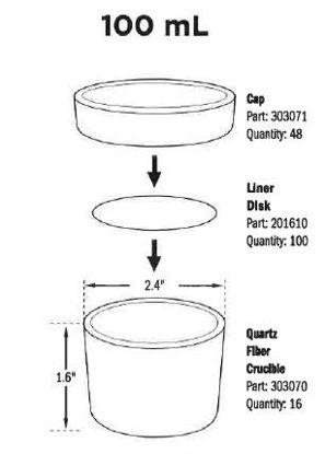 Ashing Crucibles, 100mL Round Quartz-Fiber