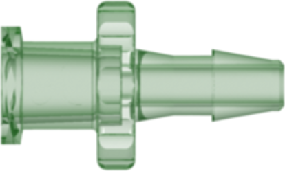 Female Luer Thread Style to 200 Series Barb 1/8in (3.2 mm) ID Tubing Green Antimicrobial Acrylic