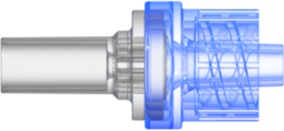 "Check Valve Pocket for .165""; (4.2 mm) OD Tubing to Male Locking Luer Cracking Pressure 2.9 +/- 0.725 psig Flow Rate >=150 ml/min Back pressure 304.5 psi SAN Blue-transparent and  MABS-Transparent w/Silicone Diaphragm"