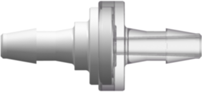 Check Valve 200 Series Barbs 1/8in (3.2 mm) ID Tubing x 1/8in (3.2 mm) ID Tubing Cracking Pressure &lt= .087 psig Flow Rate &gt= 150 ml/min White and Clear MABS w/Silicone Diaphragm