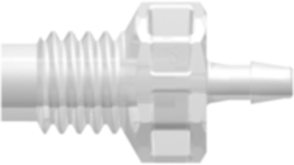 M6x1 Thread with 5/16in Hex to 200 Series Barb 1/16in (1.6 mm) ID Tubing Animal-Free Natural Polypropylene