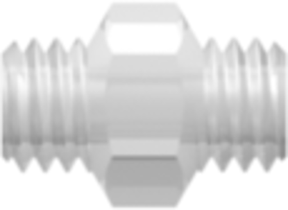10-32 UNF Thread Coupler with 1/4in Hex Animal-Free Natural Polypropylene