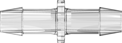 Straight Through Tube Fitting with 600 Series Barbs 3/8in (9.5 mm) ID Tubing Clear Polycarbonate