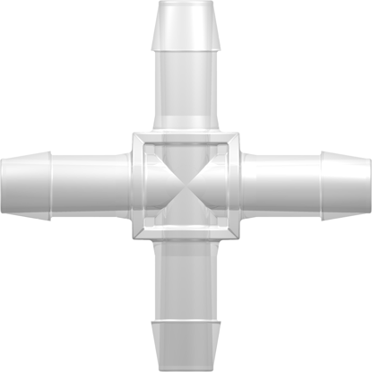 """Four-Port Cross Style Manifold with 600 Series Barbs for 1/2""""; (12.7 mm) ID Tubing Animal-Free Natural Polypropylene"""