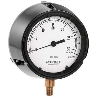 "Ashcroft 1188AS4.5 4.5"" Low-Pressure Brass Bellows Gauge 0 to 30"" WC"