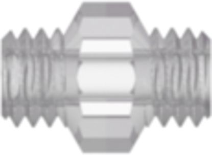 10-32 UNF Thread Coupler with 1/4in Hex Kynar 1000 HD Natural PVDF
