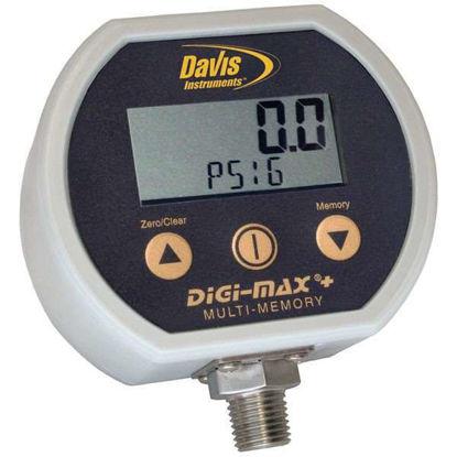 "Davis Instruments Digital Pressure Gauge with 4 Memory Storage, 1/4"" NPT(M); 30"" Hg to 200 psi"