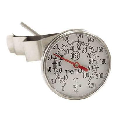"Taylor 6215J 2"" Dial Bi-metal Test Thermometer, 8"" Stem, 0/220F, 1% Accy"