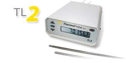 TL2 Battery Powered, Desktop Thermometer with One 200 OHM sensor with 5 foot cable and standard 5 point calibration.
