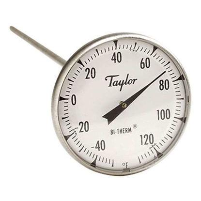 "Taylor 6211J 2"" Dial Bi-metal Test Thermometer, 8"" Stem, -40F/120F, 1% Accy"