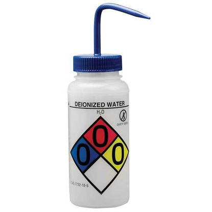 Bel-Art F12416-0003 GHS Labeled Safety-Vented Deionized Water Wash Bottles, LDPE, 500 mL; Blue Cap, 4/Pk