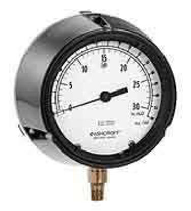 "Ashcroft 1188AS4.5 4.5"" Low-Vacuum Brass Bellows Gauge 20 to 0"" WC"