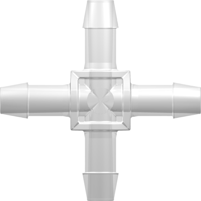 """Four-Port Cross Style Manifold with 600 Series Barbs for 3/8""""; (9.5 mm) ID Tubing Animal-Free Natural Polypropylene"""