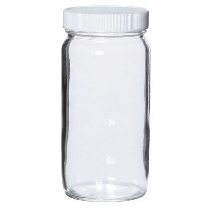 Cole-Parmer Straight-Sided Wide-Mouth Glass Bottle, Level 3, Clear, 125 mL, Open Top; 12/Cs