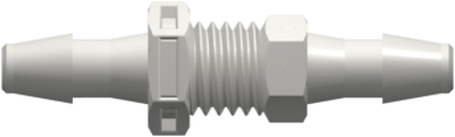 Panel Mount Connector 1/4-28 UNF to 200 Series Barbs 1/8in (3.2 mm) ID Tubing White Nylon