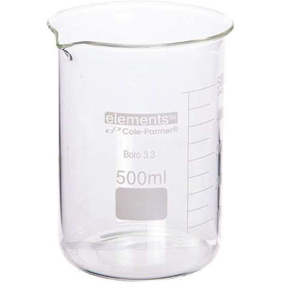 Cole-Parmer elements Low-Form Beaker, Glass, 800 mL, 6/pk