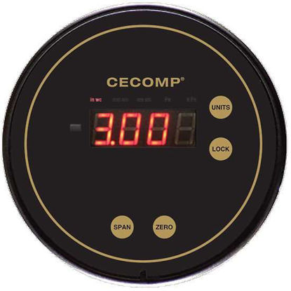 """Cecomp Differential Pressure Gauge, 2"""" WC, +/-1% Accuracy"""