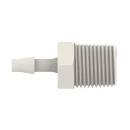 "Cole-Parmer VapLock Tubing Adapter, 1/4"" ID x 1/4"" NPT(M), Polypropylene, 10/pk"