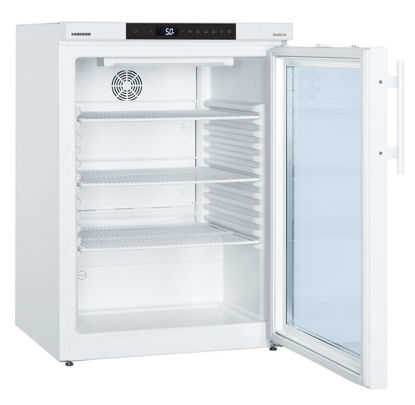 LKUv 1613 MediLine Vaccine & Laboratory Refrigerator with Comfort Controller, Volume 141 L, Dynamic Cooling, Dimension 600 x 615 x 820 mm, White Steel Cabinet Finish. +3°C to +16°C, Glass door.