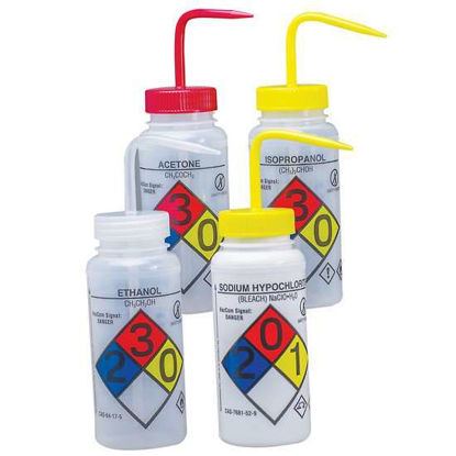 Bel-Art F12416-0050 GHS Labeled Safety-Vented One each of Acetone, Isopropanol, Bleach, and Ethanol Wash Bottles, LDPE, 500 mL; Red, Yellow, Yellow, and Natural Cap, 4/Pk