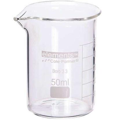 Cole-Parmer elements Low-Form Beaker, Glass, 50 mL, 12/pk