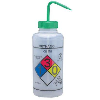 Bel-Art F12432-0011 GHS Labeled Safety-Vented Methanol Wash Bottles, LDPE, 1000 mL; Green Cap, 2/Pk