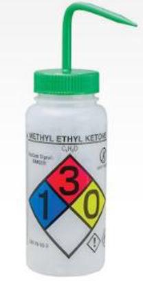 Bel-Art F12416-0012 GHS Labeled Safety-Vented Methy Ethyl Ketone Wash Bottles, LDPE, 500 mL; Green Cap, 4/Pk